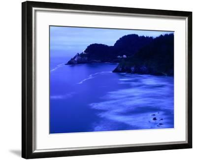 Bay with Heceta Head Lighthouse and Light Keepers House, Yachats, USA-Brent Winebrenner-Framed Photographic Print