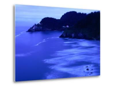 Bay with Heceta Head Lighthouse and Light Keepers House, Yachats, USA-Brent Winebrenner-Metal Print