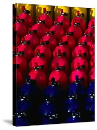 Rows of Scuba Tanks at Club Med, Columbus Isle, Bahamas-Michael Lawrence-Stretched Canvas Print