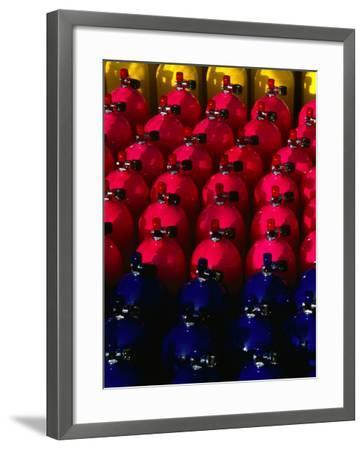 Rows of Scuba Tanks at Club Med, Columbus Isle, Bahamas-Michael Lawrence-Framed Photographic Print