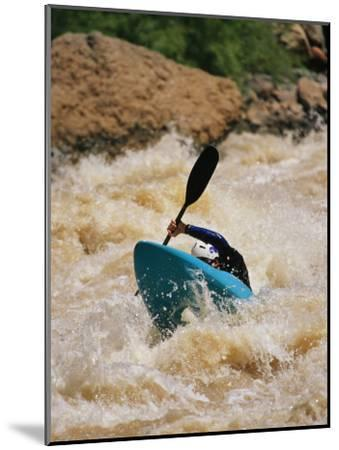 Kayaker Paddles Through Colorado River Rapids-Mark Cosslett-Mounted Photographic Print