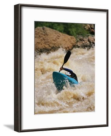 Kayaker Paddles Through Colorado River Rapids-Mark Cosslett-Framed Photographic Print