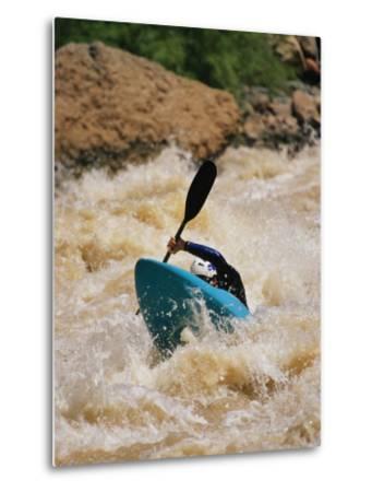 Kayaker Paddles Through Colorado River Rapids-Mark Cosslett-Metal Print