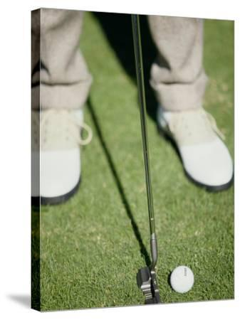 Low Section View of a Man Putting a Golf Ball--Stretched Canvas Print