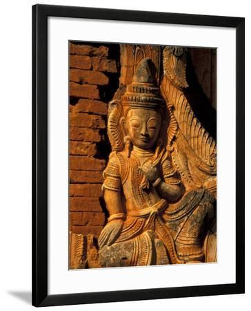 Buddha Carving at Ancient Ruins of Indein Stupa Complex, Myanmar-Keren Su-Framed Photographic Print