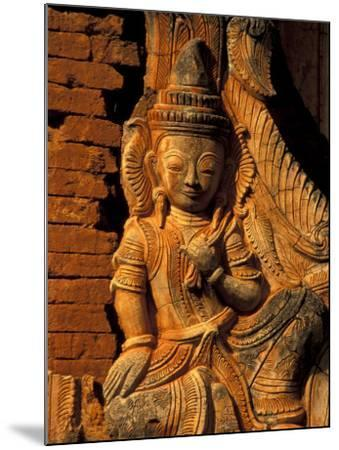 Buddha Carving at Ancient Ruins of Indein Stupa Complex, Myanmar-Keren Su-Mounted Photographic Print
