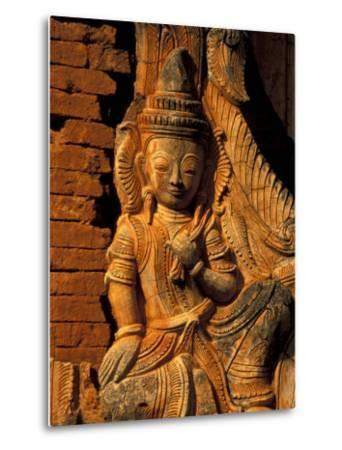 Buddha Carving at Ancient Ruins of Indein Stupa Complex, Myanmar-Keren Su-Metal Print