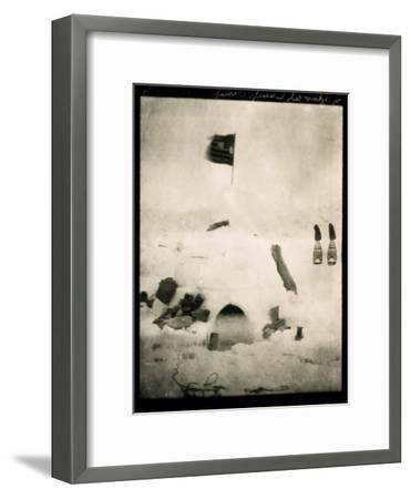 Commander Pearys Igloo is Marked by an American Flag on Top and Surrounded by Scattered Supplies-Robert Peary-Framed Photographic Print