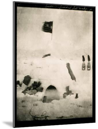 Commander Pearys Igloo is Marked by an American Flag on Top and Surrounded by Scattered Supplies-Robert Peary-Mounted Photographic Print