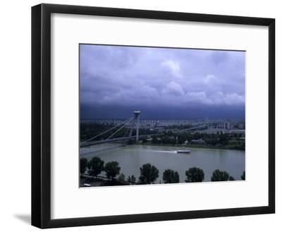 A Modern Bridge Separates the Old and New Parts of the City, Bratislava, Slovakia-Taylor S^ Kennedy-Framed Photographic Print