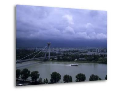 A Modern Bridge Separates the Old and New Parts of the City, Bratislava, Slovakia-Taylor S^ Kennedy-Metal Print