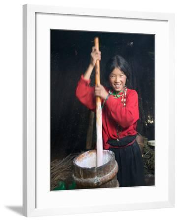 Tibetan Girl Making Butter Tea Inside the Yurt, Dingqing, Tibet, China-Keren Su-Framed Photographic Print