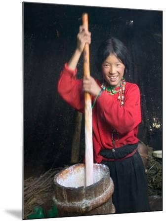 Tibetan Girl Making Butter Tea Inside the Yurt, Dingqing, Tibet, China-Keren Su-Mounted Photographic Print