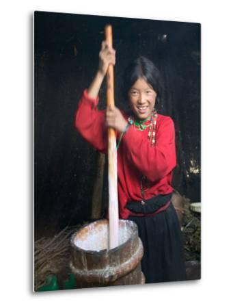 Tibetan Girl Making Butter Tea Inside the Yurt, Dingqing, Tibet, China-Keren Su-Metal Print