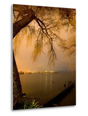 City Lights across Lake Rotorua, Rotorua, Bay of Plenty, North Island, New Zealand-David Wall-Metal Print