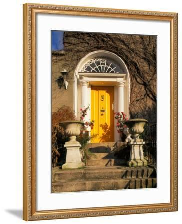 Stairs Leading to Bright Yellow Door, Dublin, Ireland-Tom Haseltine-Framed Photographic Print