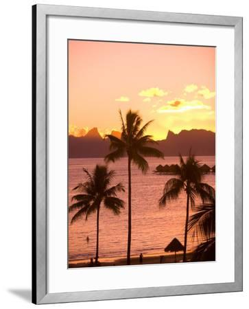 Sunset over Moorea, near Papeete, Tahiti Nui, Society Islands, French Polynesia, South Pacific-Stuart Westmoreland-Framed Photographic Print