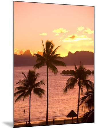 Sunset over Moorea, near Papeete, Tahiti Nui, Society Islands, French Polynesia, South Pacific-Stuart Westmoreland-Mounted Photographic Print