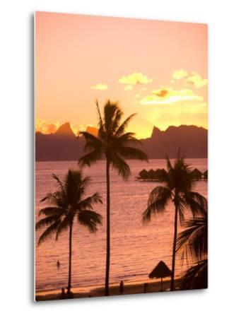 Sunset over Moorea, near Papeete, Tahiti Nui, Society Islands, French Polynesia, South Pacific-Stuart Westmoreland-Metal Print