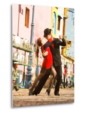 Tango Dancers on Caminito Avenue, La Boca District, Buenos Aires, Argentina-Stuart Westmoreland-Metal Print