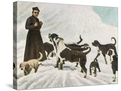 The Monks of Saint Bernard Together with Their Dogs Visit Tibet--Stretched Canvas Print