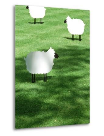 Sheep on Lawn as Decoration, Perfect Striped Lawn-Georgia Glynn-smith-Metal Print