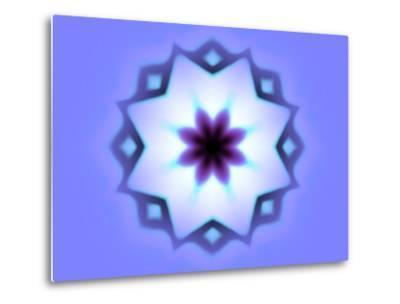 Flower-Like Fractal Design Within Star on Blue Background-Albert Klein-Metal Print