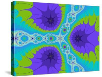 Abstract Purple and Green Fractal Designs on Turquoise Background-Albert Klein-Stretched Canvas Print