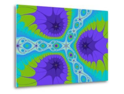 Abstract Purple and Green Fractal Designs on Turquoise Background-Albert Klein-Metal Print
