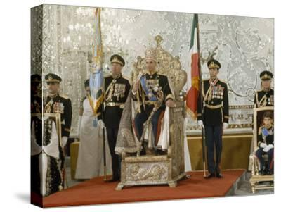 Portrait of the Shah of Iran Taken During Coronation Ceremonies, Gulistan Palace, Tehran, Iran-James L^ Stanfield-Stretched Canvas Print