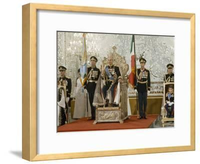 Portrait of the Shah of Iran Taken During Coronation Ceremonies, Gulistan Palace, Tehran, Iran-James L^ Stanfield-Framed Photographic Print