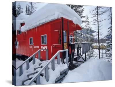 Caboose Lodging at Izaak Walton Lodge, Essex, Montana, USA-Chuck Haney-Stretched Canvas Print