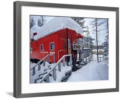 Caboose Lodging at Izaak Walton Lodge, Essex, Montana, USA-Chuck Haney-Framed Photographic Print