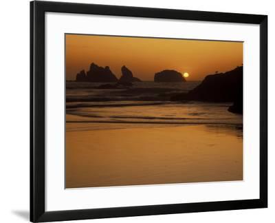 Bandon Beach with Mirrored Seastack Reflections, Oregon, USA-Adam Jones-Framed Photographic Print