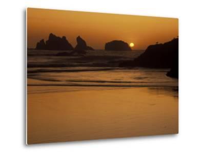 Bandon Beach with Mirrored Seastack Reflections, Oregon, USA-Adam Jones-Metal Print