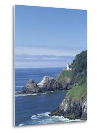 Heceta Head Lighthouse and Seastacks, Cape Sebestian, Oregon, USA-John & Lisa Merrill-Metal Print