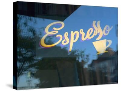 Espresso Sign in Cafe Window, Portland, Oregon, USA-Janis Miglavs-Stretched Canvas Print
