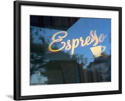 Espresso Sign in Cafe Window, Portland, Oregon, USA-Janis Miglavs-Framed Photographic Print