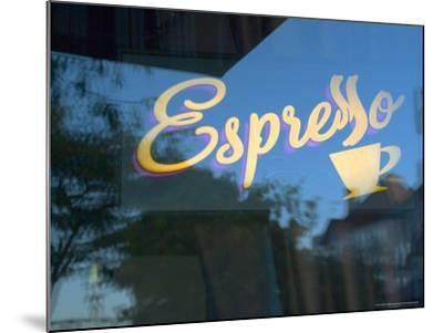 Espresso Sign in Cafe Window, Portland, Oregon, USA-Janis Miglavs-Mounted Photographic Print