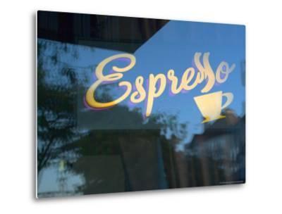 Espresso Sign in Cafe Window, Portland, Oregon, USA-Janis Miglavs-Metal Print