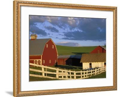 Red Barn with Fenceline in Summer, Whitman County, Washington, USA-Julie Eggers-Framed Photographic Print
