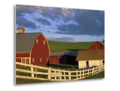 Red Barn with Fenceline in Summer, Whitman County, Washington, USA-Julie Eggers-Metal Print