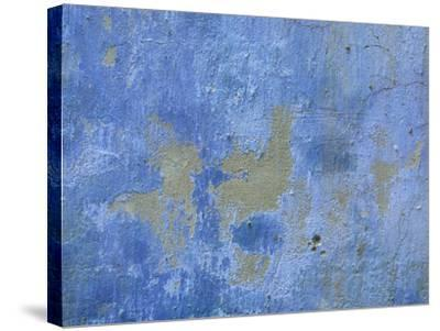 Close-up of Blue Paint Chipping from Stone Wall--Stretched Canvas Print