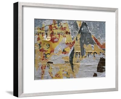 Close-Up of Torn Posters on a Wall in Venice-Todd Gipstein-Framed Photographic Print