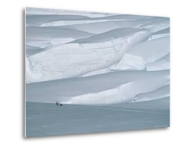 Climber in Denali Is Dwarfed by the Surrounding Snowy Landscape-Bill Hatcher-Metal Print