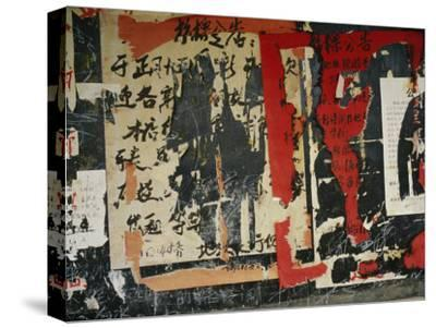 Wall in China with Torn Posters and Graffiti--Stretched Canvas Print