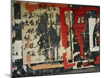 Wall in China with Torn Posters and Graffiti--Mounted Photographic Print