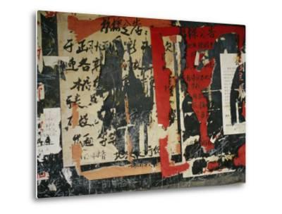 Wall in China with Torn Posters and Graffiti--Metal Print