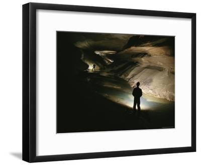 Cavers Stand in the New Discover Section of Meringo Cave-Stephen Alvarez-Framed Photographic Print