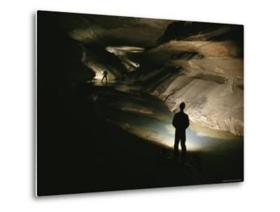 Cavers Stand in the New Discover Section of Meringo Cave-Stephen Alvarez-Metal Print